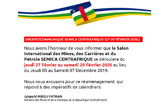 URGENT : REPORT DU « SALON INTERNATIONAL DES MINES ET DES CARRIERS